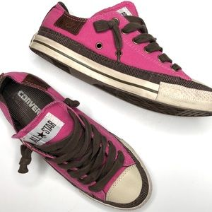 Converse All Star Low Pink/Brown Plaid w/Leather